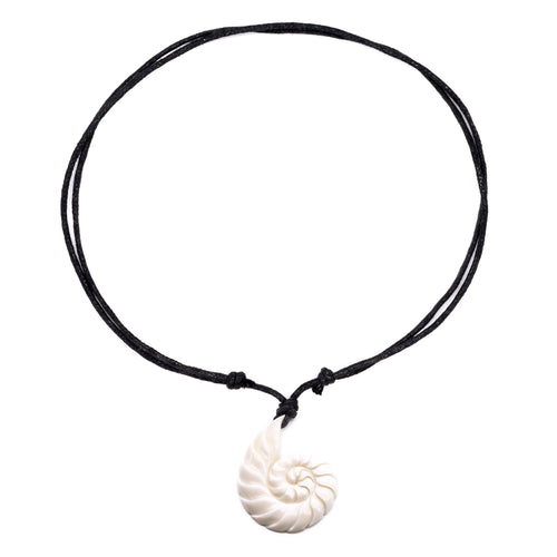 carved bone swirl necklace