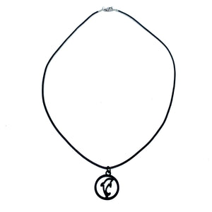 dolphin silhouette simple black necklace