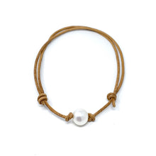 Load image into Gallery viewer, tan leather simple single pearl adjustable anklet