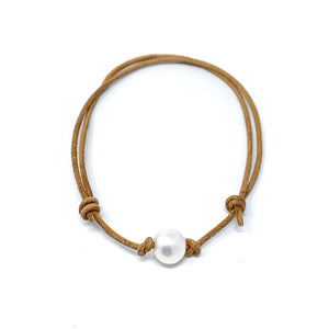 tan leather simple single pearl adjustable anklet