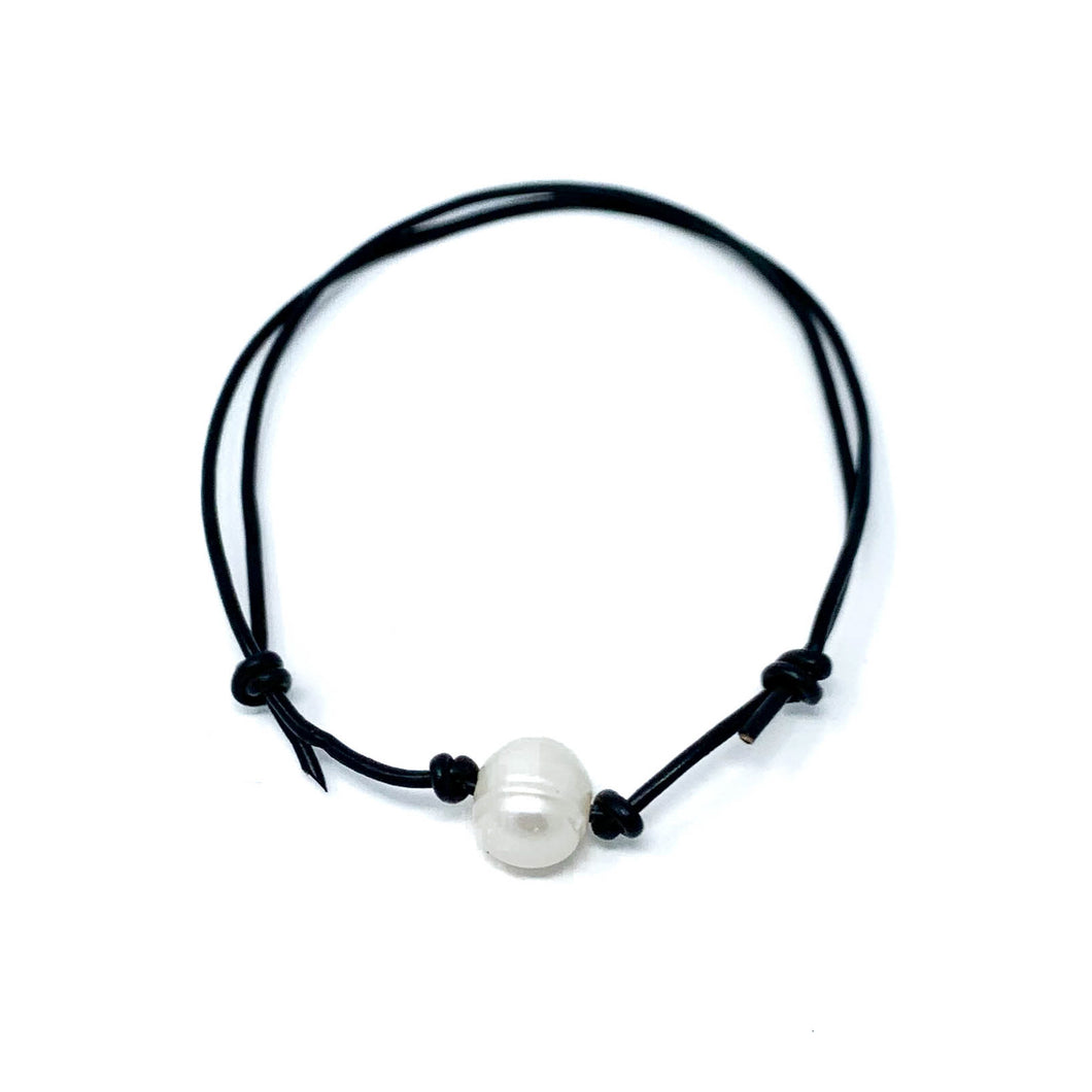 black leather simple single pearl adjustable anklet