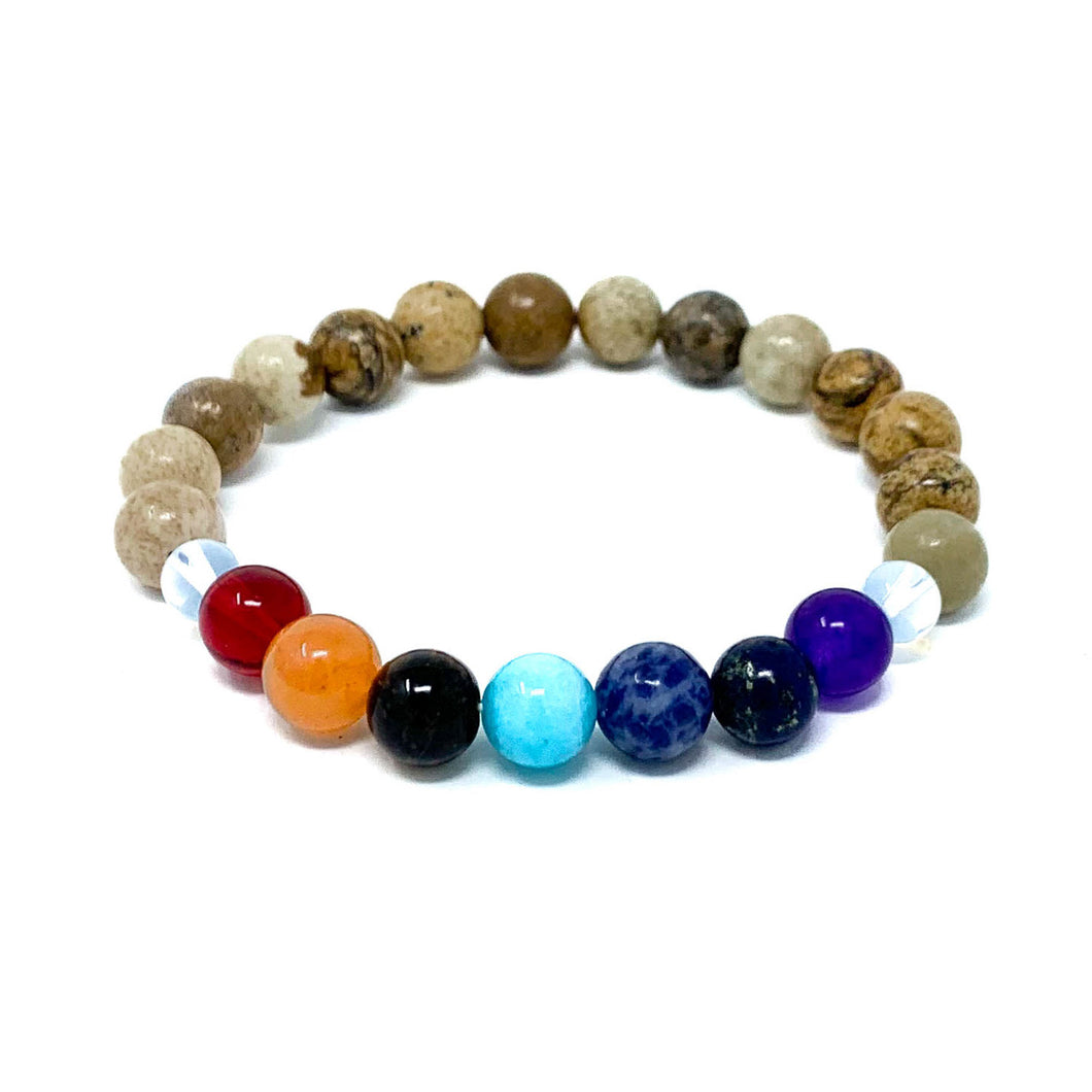 chakra beaded bracelet with jasper