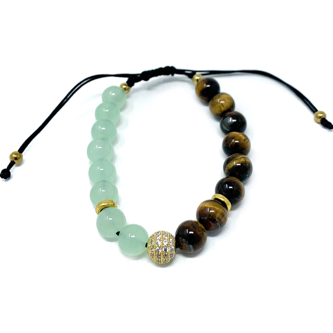 Amazonite and Tiger Eye Beaded Bracelet
