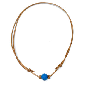 simple blue howlite stone necklace