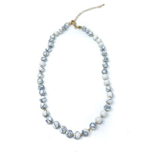 Load image into Gallery viewer, white howlite semi precious stone beaded necklace
