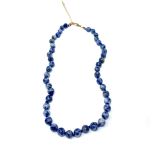 sodalite semi precious stone beaded necklace