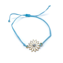 Load image into Gallery viewer, Blue flower charm string bracelet single