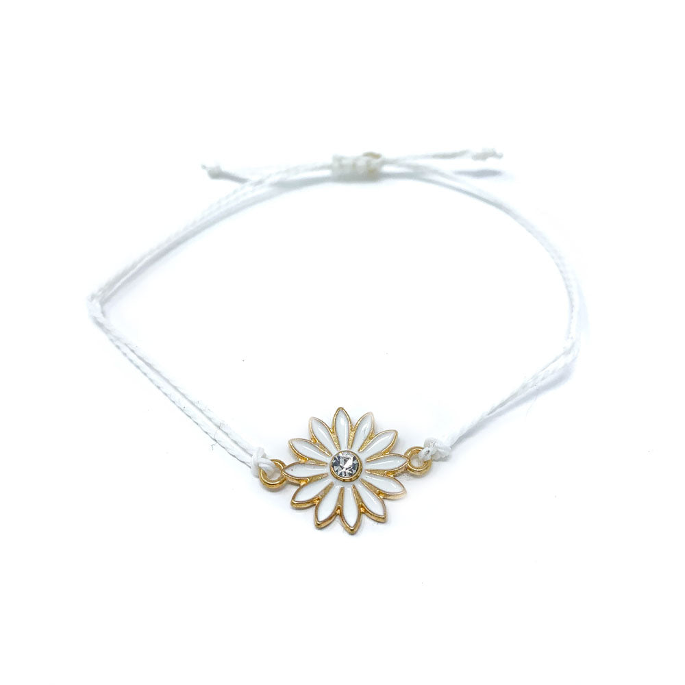 White flower charm string bracelet single
