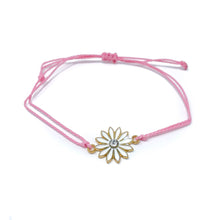 Load image into Gallery viewer, Pink flower charm string bracelet single