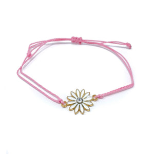 Pink flower charm string bracelet single