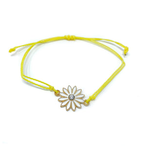 Yellow flower charm string bracelet single