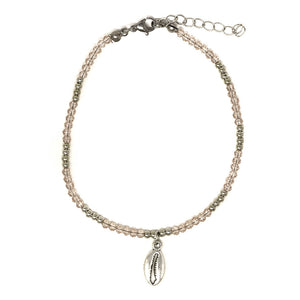 womens cowrie beaded anklet