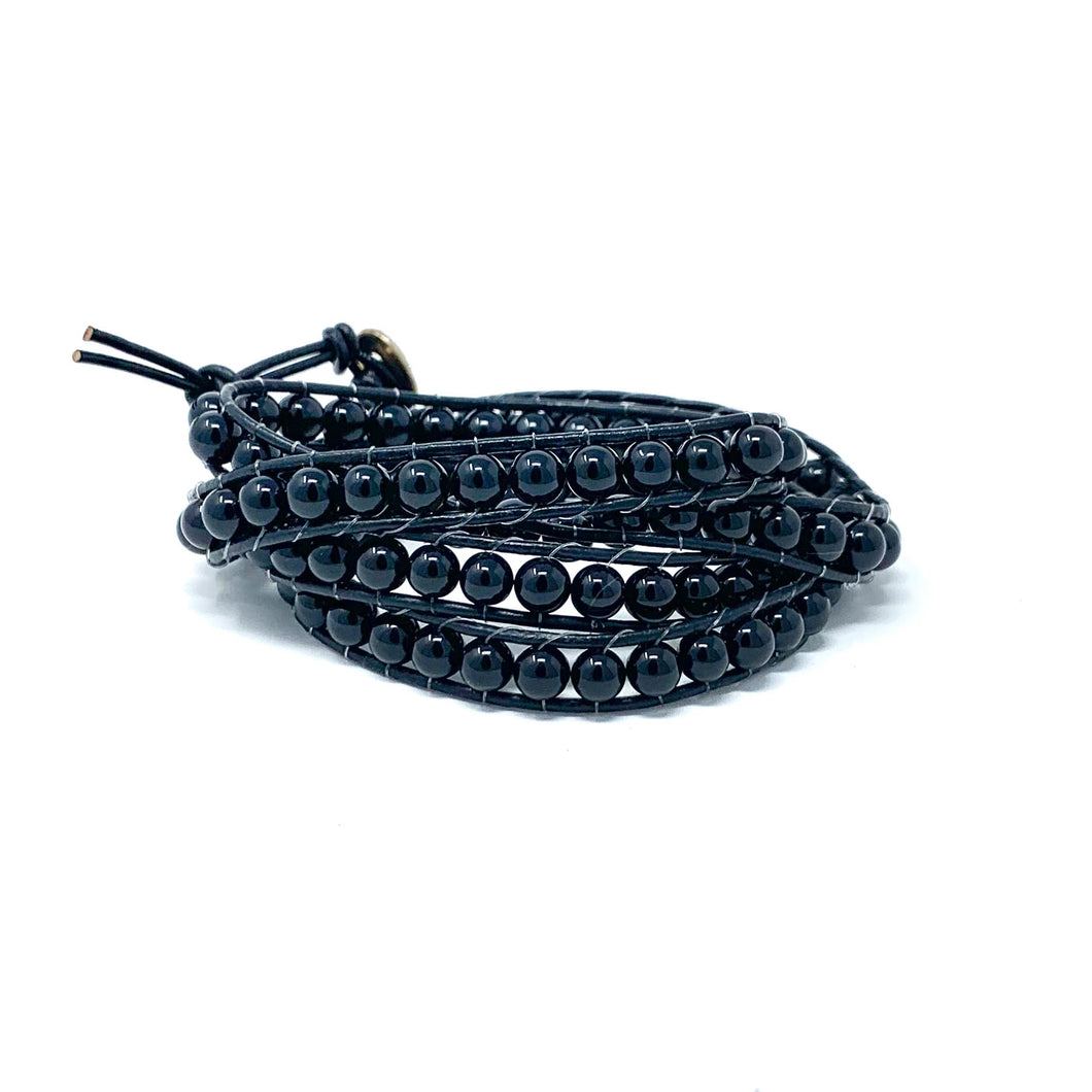 black onyx wrapped bracelet