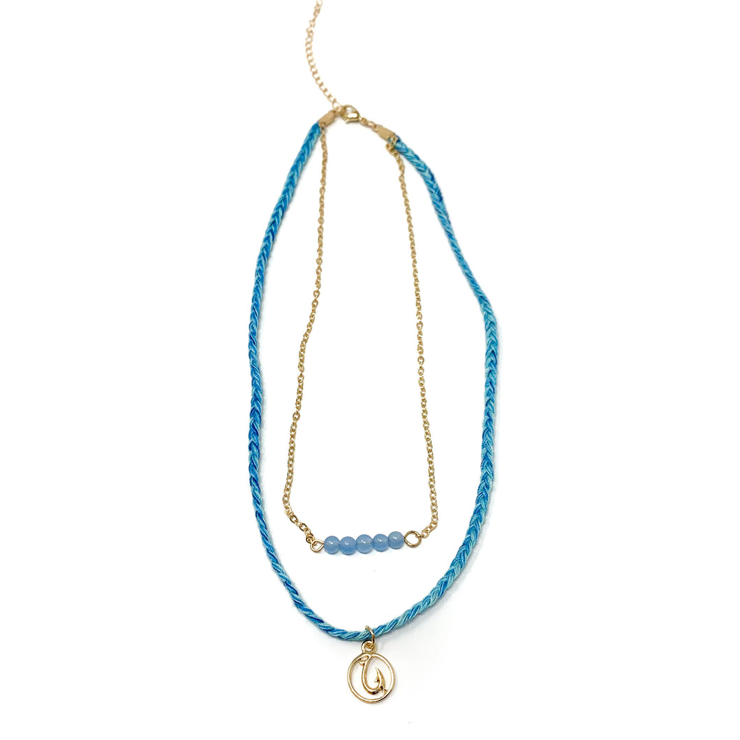 blue cute beach style hook necklace