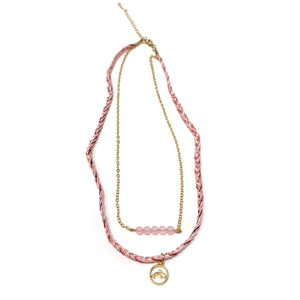 pink stylish beach style necklace with dolphin pendant