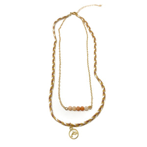 tan stylish beach style necklace with dolphin pendant
