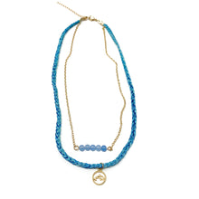 Load image into Gallery viewer, blue stylish beach style necklace with dolphin pendant