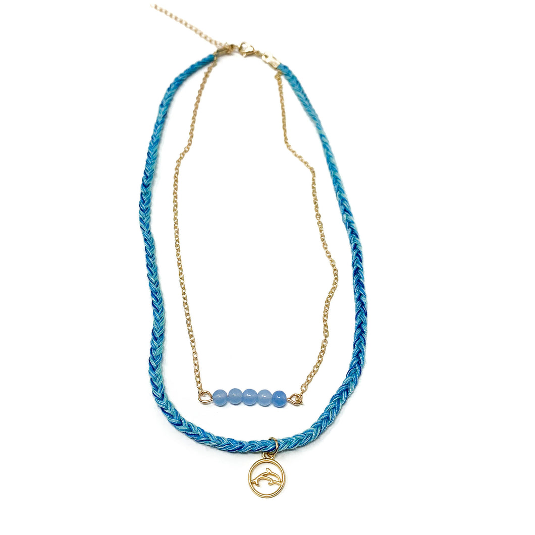 blue stylish beach style necklace with dolphin pendant