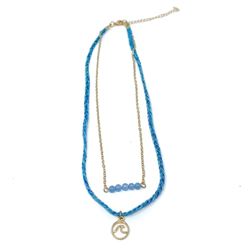 blue wave dainty girls necklace