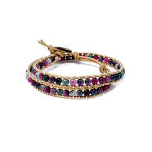 Load image into Gallery viewer, colorful multi colored double wrap beaded bracelet for women
