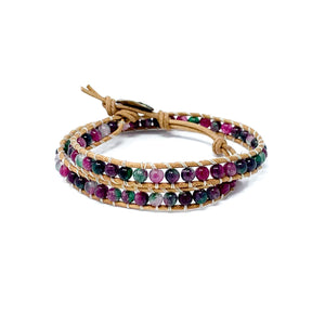 colorful multi colored double wrap beaded bracelet for women