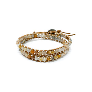 natural double wrap stone beaded bracelet for women