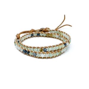 double wrap stone beaded bracelet for women