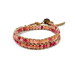 pink orange double wrap beaded bracelet for women