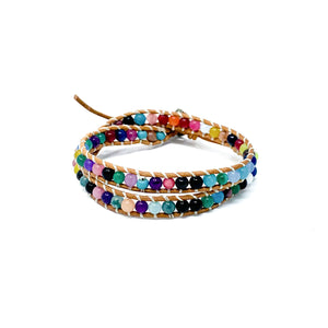 multi color double wrap stone beaded bracelet for women