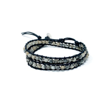 Load image into Gallery viewer, grey double wrap stone beaded bracelet for women