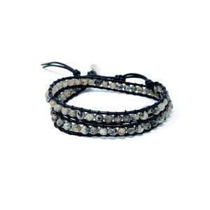 grey double wrap stone beaded bracelet for women