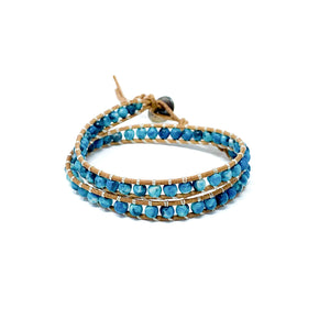 blue double wrap stone beaded bracelet for women