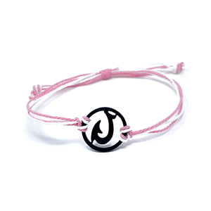 pink black matau fish hook string bracelet