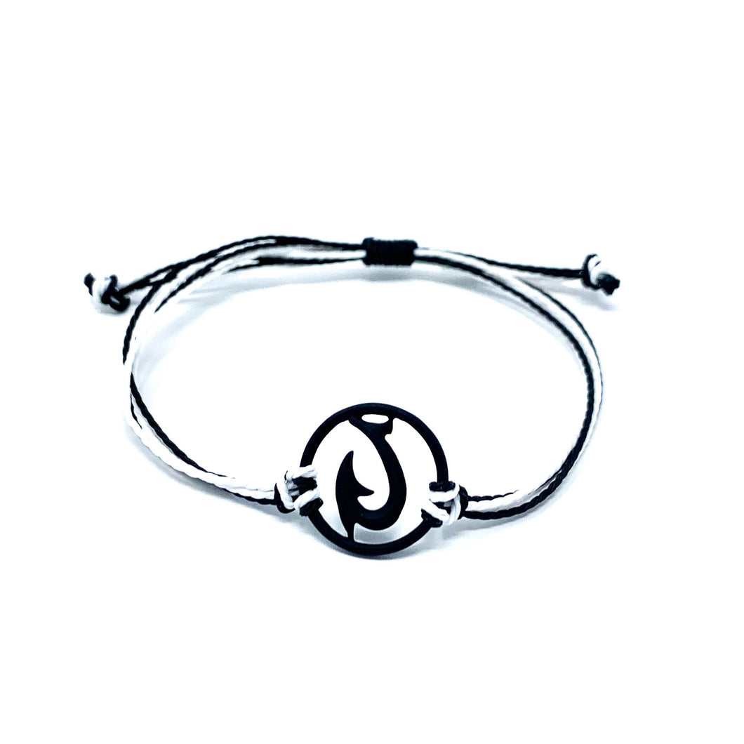 black matau fish hook string bracelet