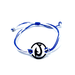 black blue matau fish hook string bracelet