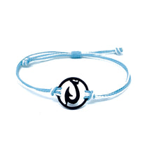 Load image into Gallery viewer, black blue matau fish hook string bracelet