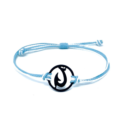 black blue hawaiian fish hook string bracelet