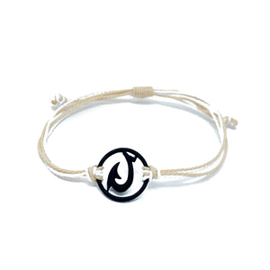 tan black matau fish hook string bracelet