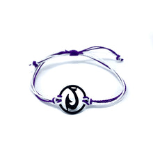 Load image into Gallery viewer, purple black matau fish hook string bracelet
