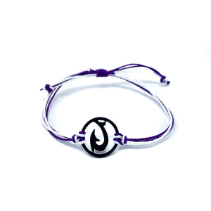 purple black matau fish hook string bracelet