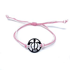 pink black turtle string beach bracelet