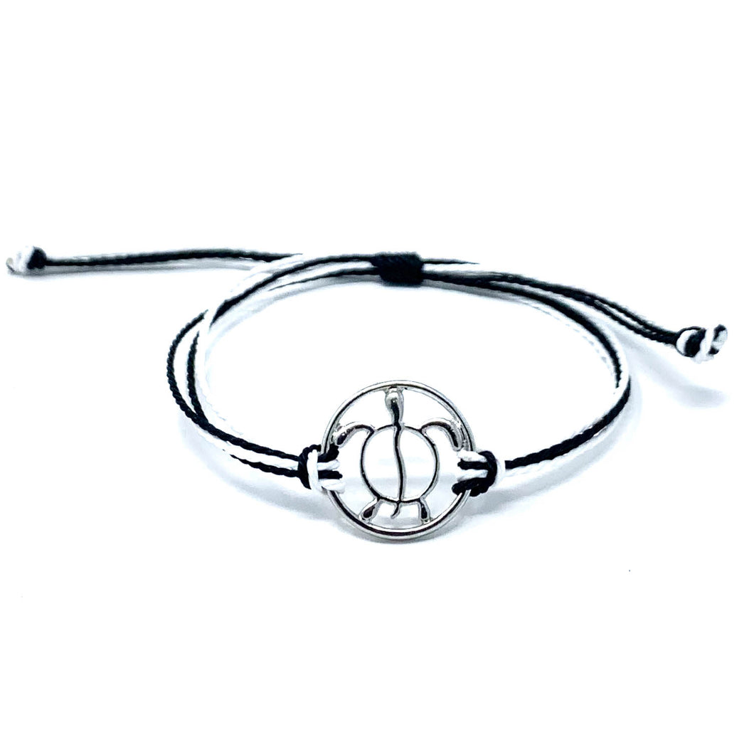 sea turtle black white string bracelet