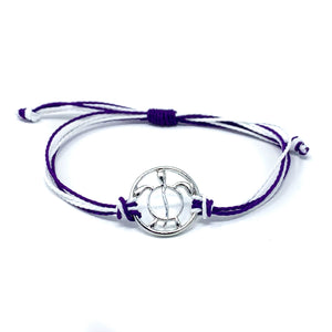 sea turtle purple string bracelet