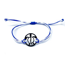 Load image into Gallery viewer, blue black turtle string beach bracelet