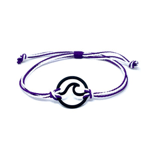 purple white wave string bracelet
