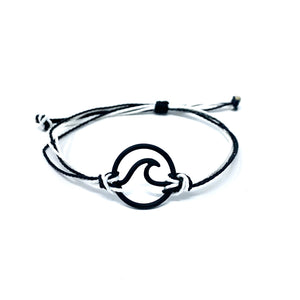 black white wave string bracelet