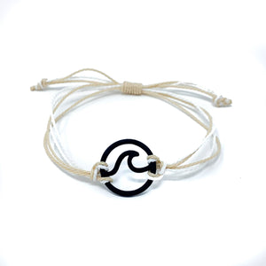 tan white wave string bracelet