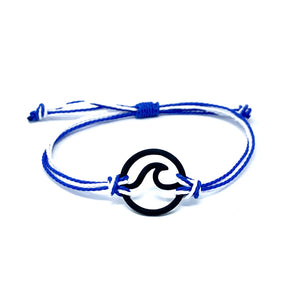 blue white wave string bracelet