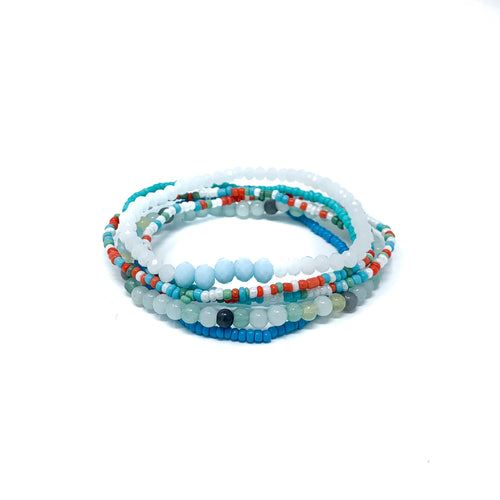 beaded bracelet stack, friendship bracelets