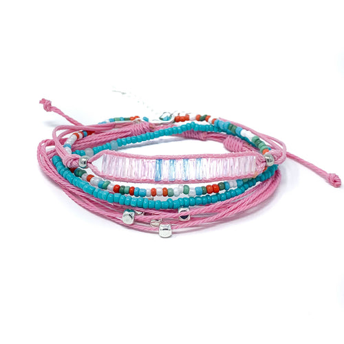 summer days pink string bead bracelet stack pack